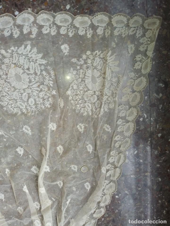 Antigüedades: ANTIGUO TUL BORDADO DELANTAL LEER - Foto 12 - 217517087