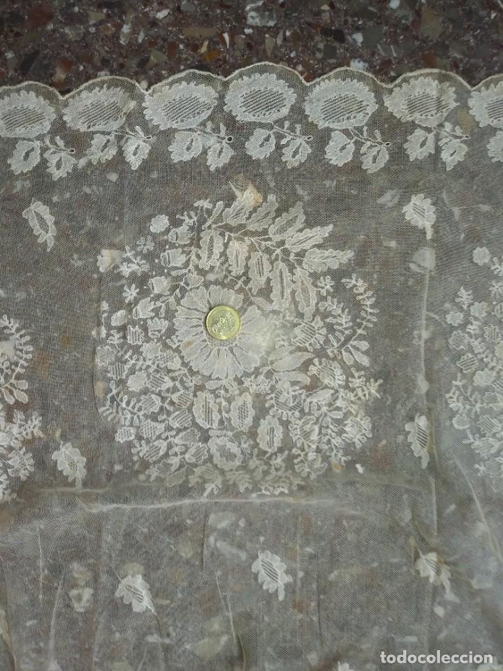 Antigüedades: ANTIGUO TUL BORDADO DELANTAL LEER - Foto 16 - 217517087