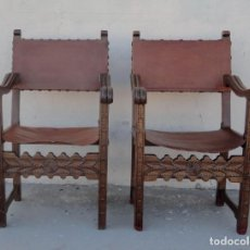 Antigüedades: PAREJA DE SILLONES FRAILEROS EN MADERA DE NOGAL. Lote 217518301
