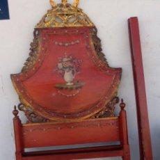 Antigüedades: CAMA ANTIGUA DE OLOT, TALLADA Y POLICROMADA DE 120. Lote 217523166
