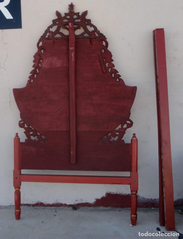 Antigüedades: Cama antigua de Olot, tallada y policromada de 120 - Foto 11 - 217523166