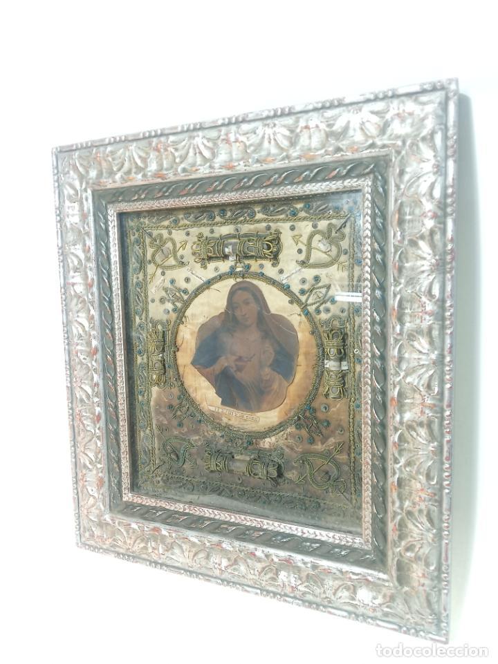 Antigüedades: Imponente relicario con 14 reliquias. Siglo XVII. Bordado en oro. Extraordinaria elaboración. - Foto 2 - 217561282