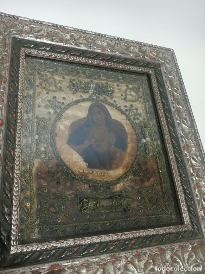 Antigüedades: Imponente relicario con 14 reliquias. Siglo XVII. Bordado en oro. Extraordinaria elaboración. - Foto 3 - 217561282