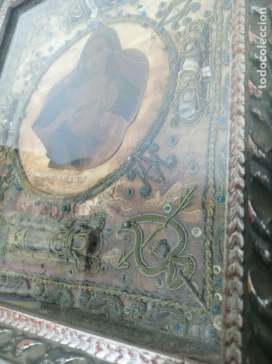Antigüedades: Imponente relicario con 14 reliquias. Siglo XVII. Bordado en oro. Extraordinaria elaboración. - Foto 6 - 217561282