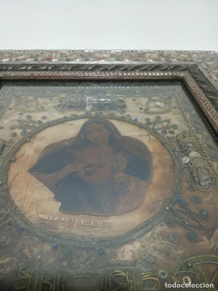 Antigüedades: Imponente relicario con 14 reliquias. Siglo XVII. Bordado en oro. Extraordinaria elaboración. - Foto 8 - 217561282