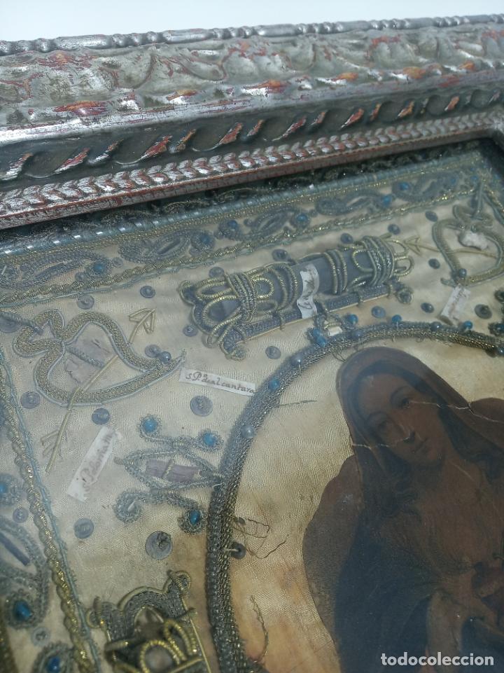 Antigüedades: Imponente relicario con 14 reliquias. Siglo XVII. Bordado en oro. Extraordinaria elaboración. - Foto 9 - 217561282