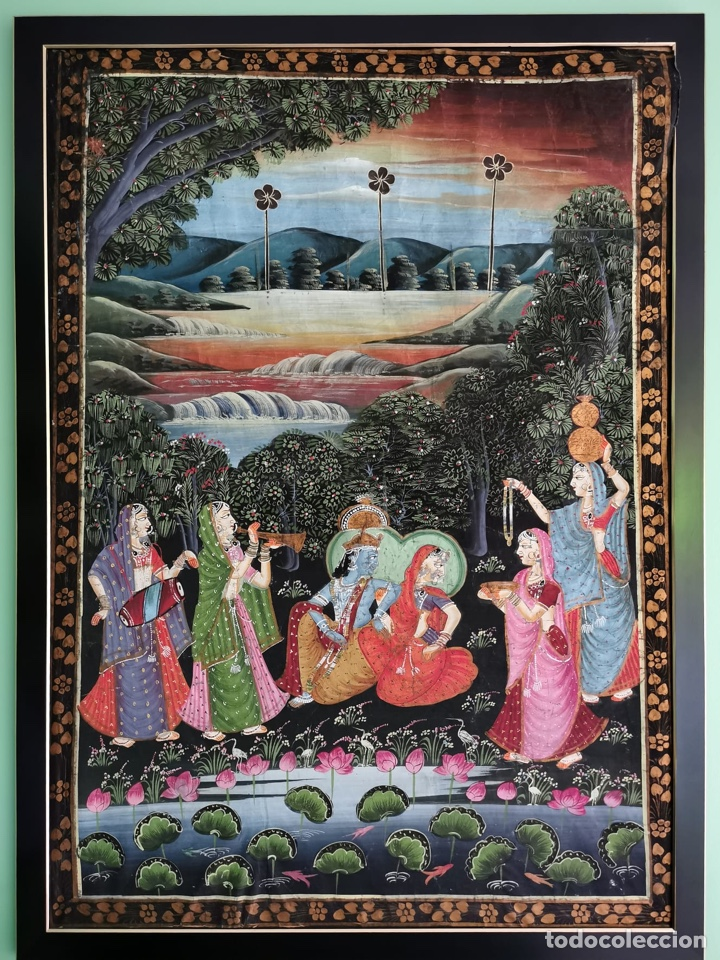 ESPECTACULAR SEDA ANTIGUA DE LA INDIA. TRAÍDA DE ANTICUARIO EN LONDRES. (Antigüedades - Hogar y Decoración - Tapices Antiguos)