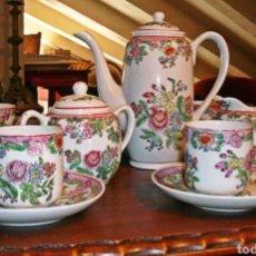 Antigüedades: JUEGO DE CAFE - PORCELANA CHINA DECORADA CON MOTIVOS FLORALES - VINTAGE. Lote 217612056