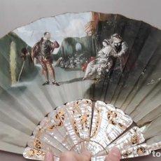Antigüedades: ABANICO DE SEDA PINTADO A MANO Y FIRMADO CON VARILLAS DE NÁCAR. SIGLO XIX. Lote 217616118