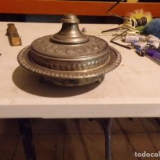 Antigüedades: CENTRO DE MESA DE METAL PLATEADO O ALPACA DE ESTILO ORIENTAL. Lote 217624800