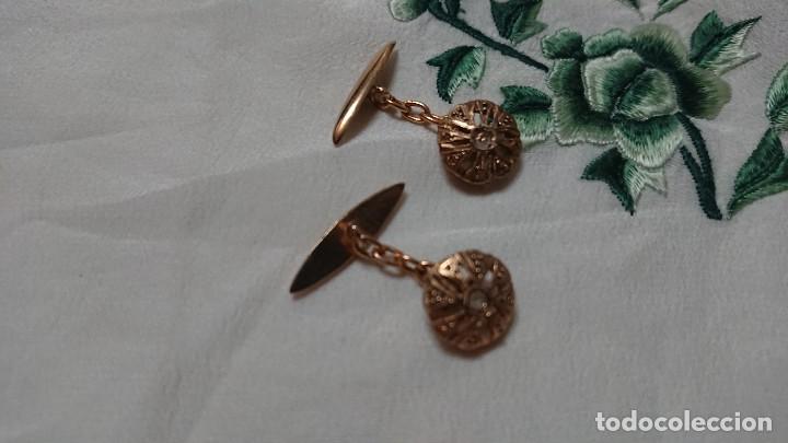 Antigüedades: ANTIGUOS GEMELOS METAL DORADO Y PIEDRA - Foto 5 - 217646723
