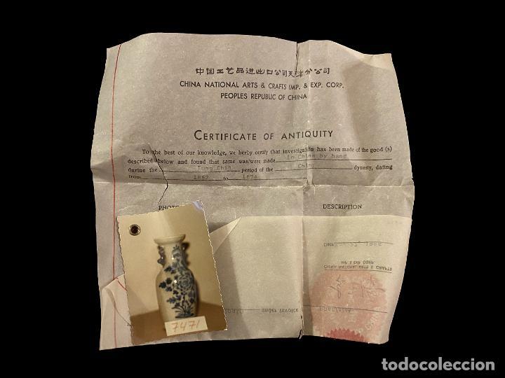 Antigüedades: Maravilloso jarrón chino con certificado, , Dinastía ching, 1862-1874 - Foto 2 - 217660461