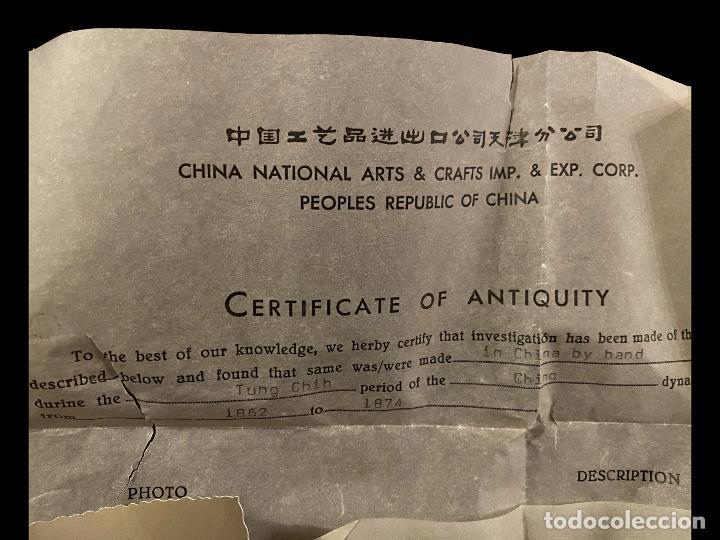 Antigüedades: Maravilloso jarrón chino con certificado, , Dinastía ching, 1862-1874 - Foto 3 - 217660461