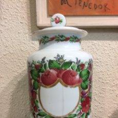 Antiguidades: GRAN BOTE DE FARMACIA CRISTAL SOPLADO S.XVIII PINTADO A MANO GRAN FORMATO. Lote 217679142