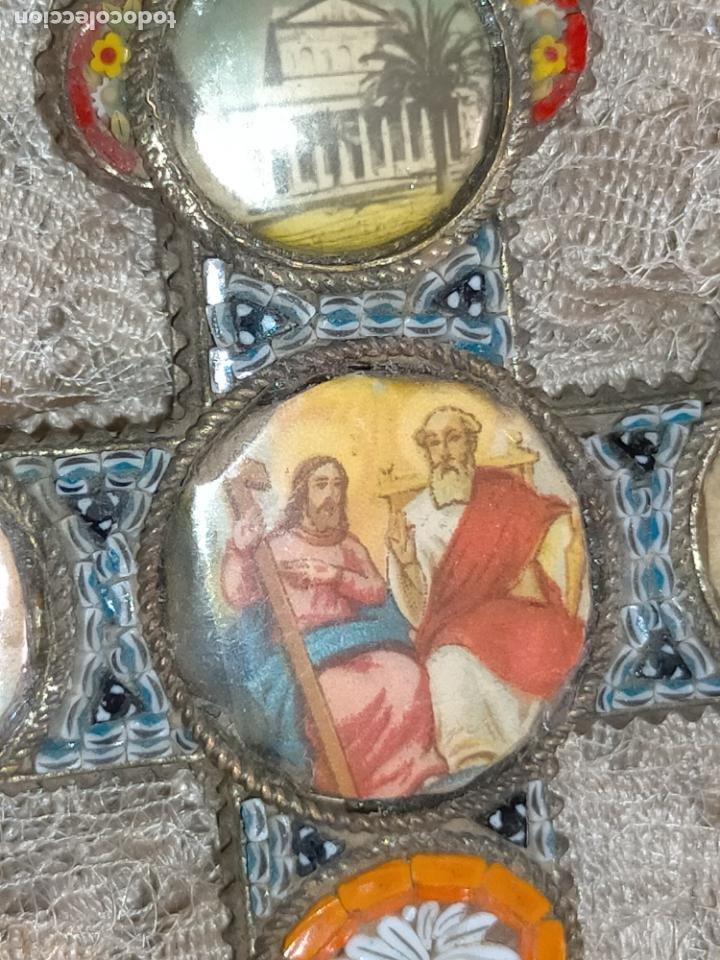 10X7 CM GRAN ANTIGUA CRUZ PECTORAL MICROMOSAICO PECHO VIRGEN DEL PILAR DESAMPARADOS SEMANA SANTA (Antigüedades - Religiosas - Cruces Antiguas)