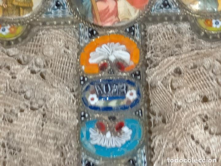 Antigüedades: 10x7 cm gran antigua cruz pectoral micromosaico pecho virgen del pilar desamparados semana santa - Foto 6 - 217695768