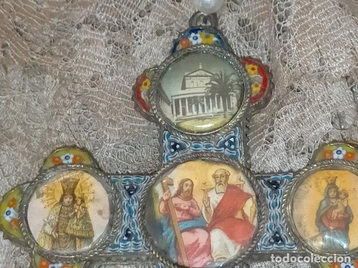 Antigüedades: 10x7 cm gran antigua cruz pectoral micromosaico pecho virgen del pilar desamparados semana santa - Foto 7 - 217695768