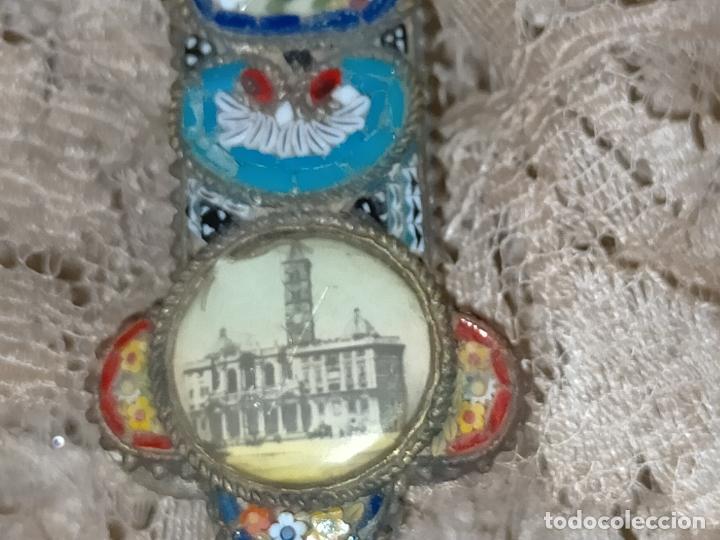 Antigüedades: 10x7 cm gran antigua cruz pectoral micromosaico pecho virgen del pilar desamparados semana santa - Foto 8 - 217695768