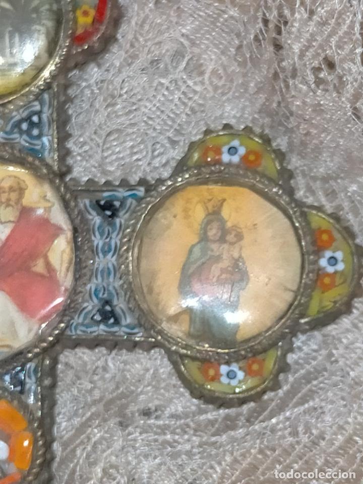 Antigüedades: 10x7 cm gran antigua cruz pectoral micromosaico pecho virgen del pilar desamparados semana santa - Foto 9 - 217695768