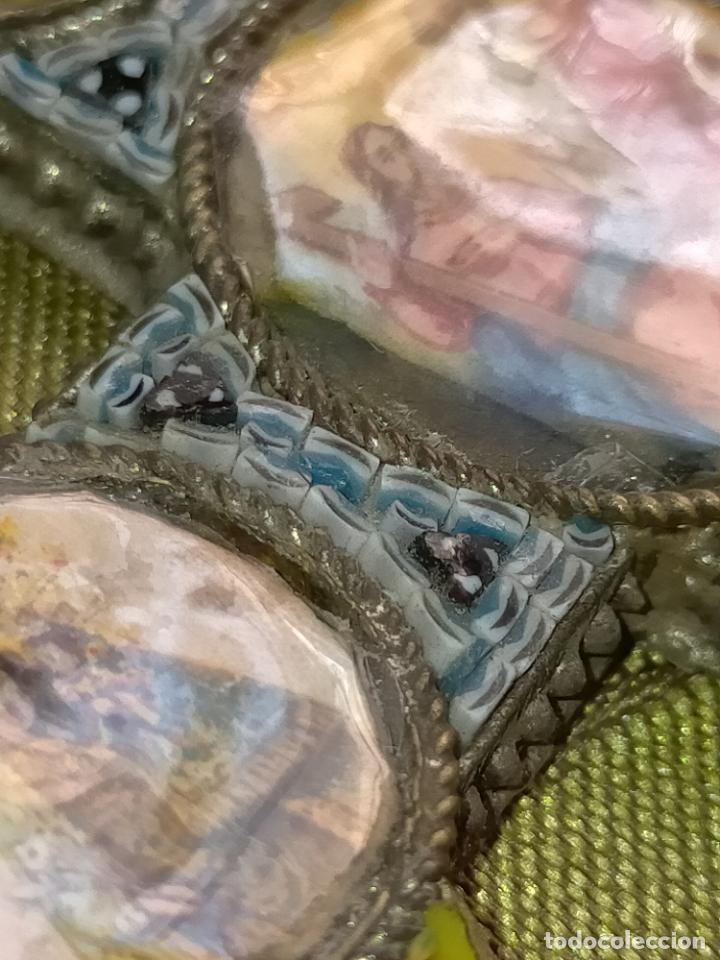 Antigüedades: 10x7 cm gran antigua cruz pectoral micromosaico pecho virgen del pilar desamparados semana santa - Foto 10 - 217695768