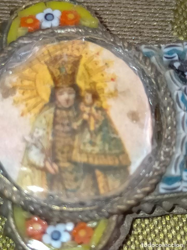 Antigüedades: 10x7 cm gran antigua cruz pectoral micromosaico pecho virgen del pilar desamparados semana santa - Foto 16 - 217695768