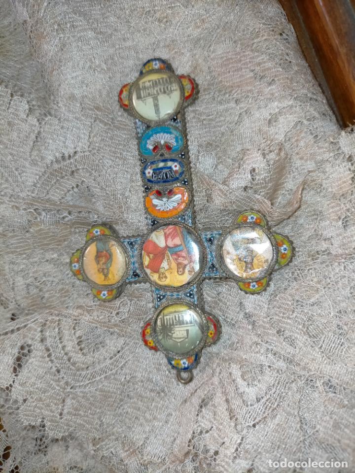 Antigüedades: 10x7 cm gran antigua cruz pectoral micromosaico pecho virgen del pilar desamparados semana santa - Foto 19 - 217695768