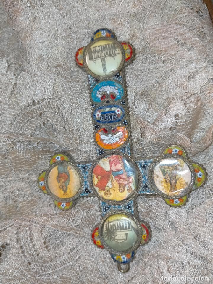 Antigüedades: 10x7 cm gran antigua cruz pectoral micromosaico pecho virgen del pilar desamparados semana santa - Foto 20 - 217695768
