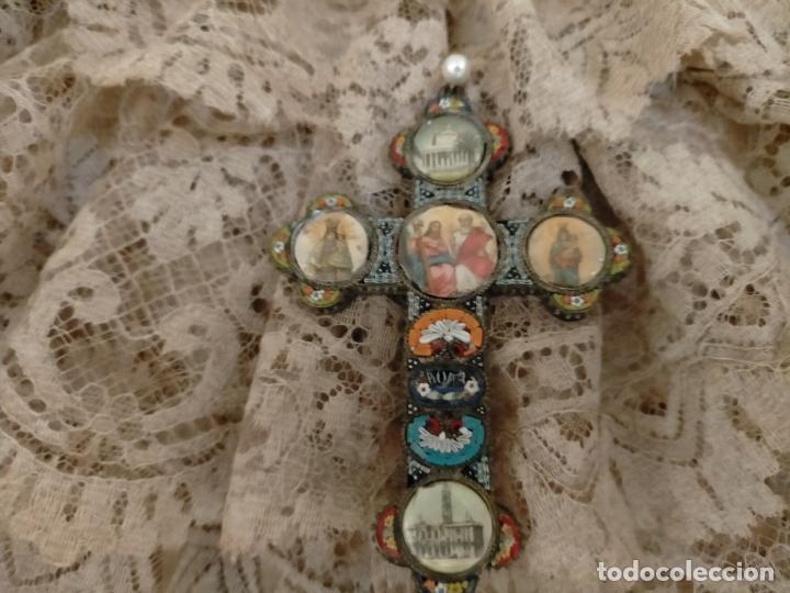 Antigüedades: 10x7 cm gran antigua cruz pectoral micromosaico pecho virgen del pilar desamparados semana santa - Foto 3 - 217695768