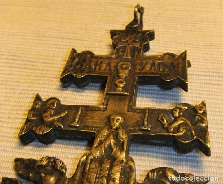 Antigüedades: EXCEPCIONAL CRUZ DE CARAVACA EN BRONCE SIGLO XVIII TAMAÑO GRANDE - Foto 8 - 217697393