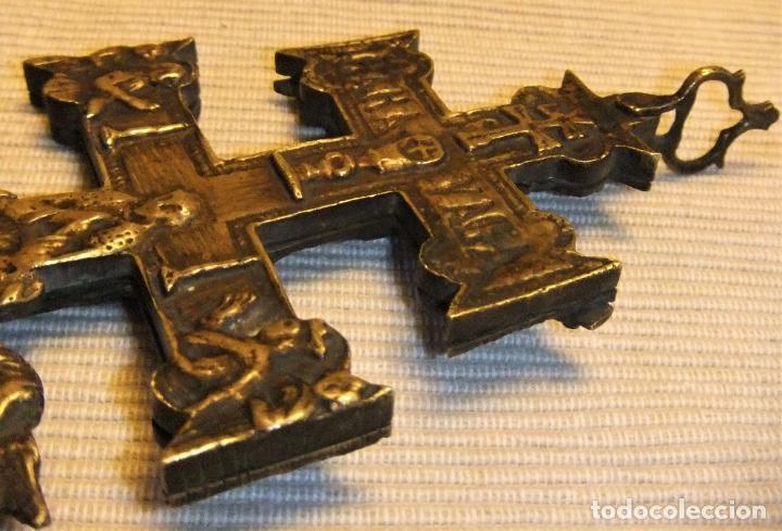Antigüedades: EXCEPCIONAL CRUZ DE CARAVACA EN BRONCE SIGLO XVIII TAMAÑO GRANDE - Foto 10 - 217697393