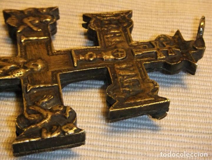 Antigüedades: EXCEPCIONAL CRUZ DE CARAVACA EN BRONCE SIGLO XVIII TAMAÑO GRANDE - Foto 13 - 217697393