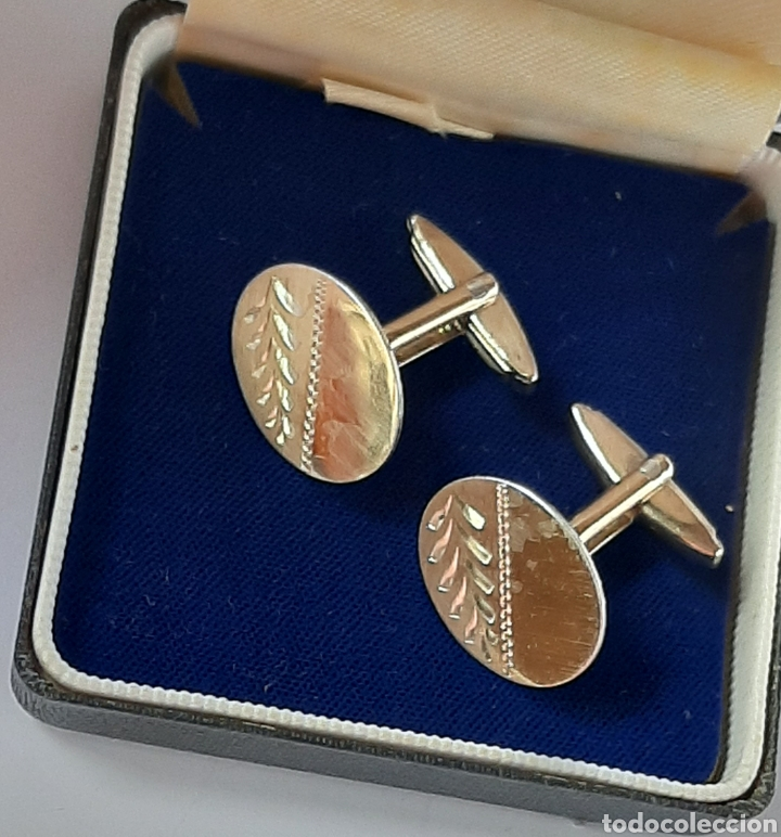 Antigüedades: Gemelos de oro 9ct gold y silver de 16.6 mm × 14.9 mm. 8 .04 gramos, ver fotos y descripción. - Foto 3 - 230009145