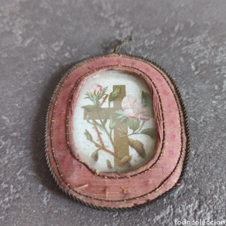 Antigüedades: Antiguo escapulario de seda y cristal cruz - Foto 3 - 217712898