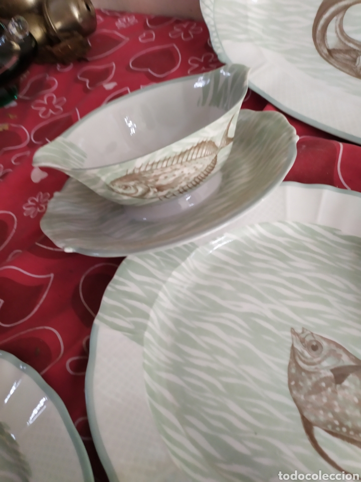 Antigüedades: Importante vajilla de pescado porcelana antigua de Limoges - Foto 5 - 217720726