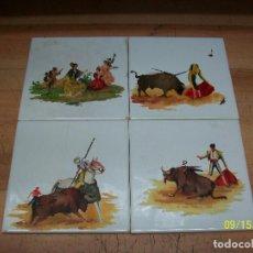 Antigüedades: 4 AZULEJOS ANTIGUOS PINTADOS AL OLEO-MOTIVOS TAURINOS. Lote 217818056