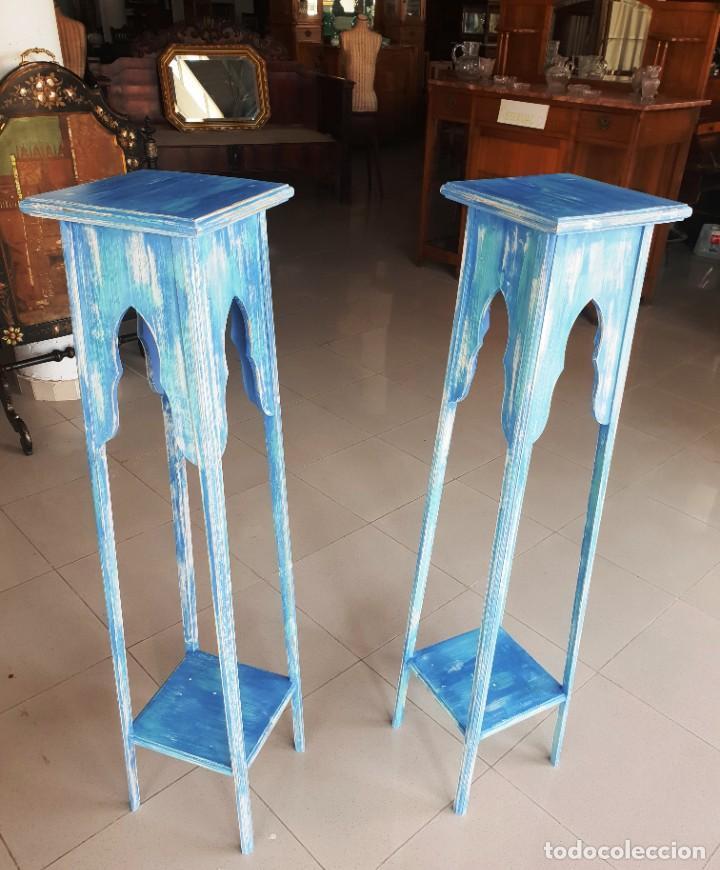 PEDESTALES ANTIGUOS RESTAURADOS (Antigüedades - Muebles Antiguos - Veladores Antiguos)