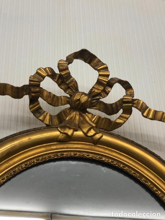 Antigüedades: ESPEJO ISABELINO FINAL SIGLO XVIII EN MADERA Y ORO FINO - MEDIDA TOTAL 133X80 CM - Foto 17 - 217840552