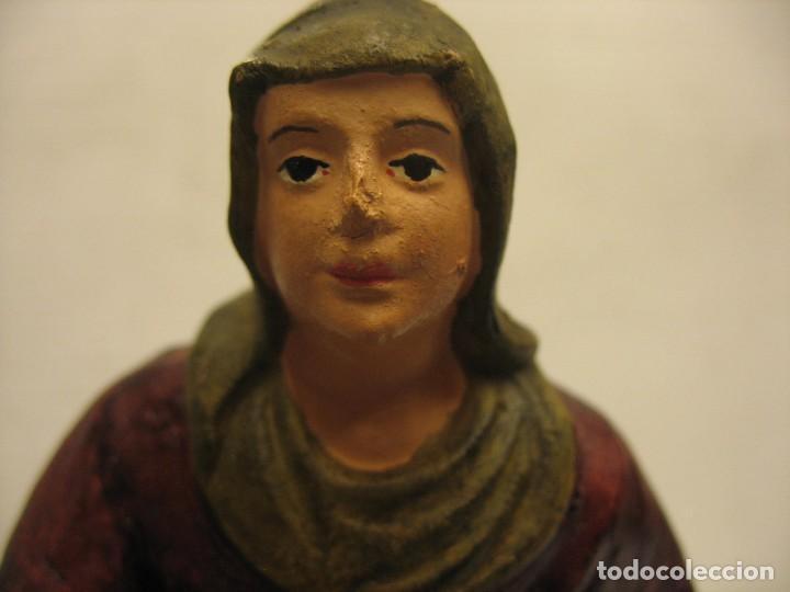 Antigüedades: figuras de pesebre grandes mujeres 22cm. alto - Foto 16 - 217882637
