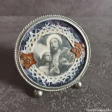 Antigüedades: TRABAJO DE MONJA CON PUNTILLA Y FLOR SECA *JESÚS * JESUCRISTO * SALVADOR MUNDI. Lote 217922931