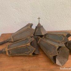 Antigüedades: 4 CURIOSOS FAROLES DE LATA FINA DEL XIX PARA PROCESIÓN, RARÍSIMOS. Lote 217934031