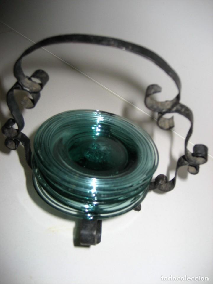 Antigüedades: precioso portaplatos platos pequeños plato vidrio soplado mallorquin ? soporte metalico platero - Foto 5 - 217943528