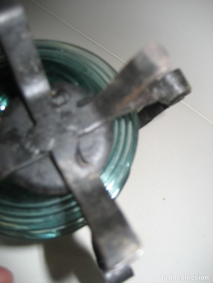Antigüedades: precioso portaplatos platos pequeños plato vidrio soplado mallorquin ? soporte metalico platero - Foto 6 - 217943528