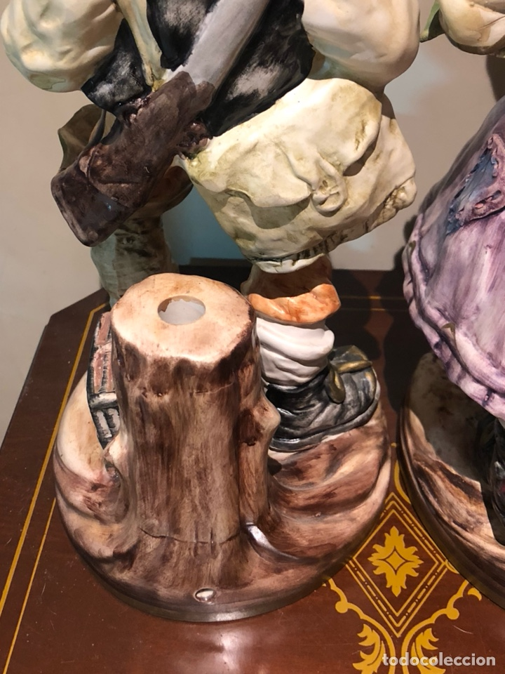 Antigüedades: Bonita pareja de figuras de porcelana, capo di monte, buen tamaño - Foto 13 - 217948751