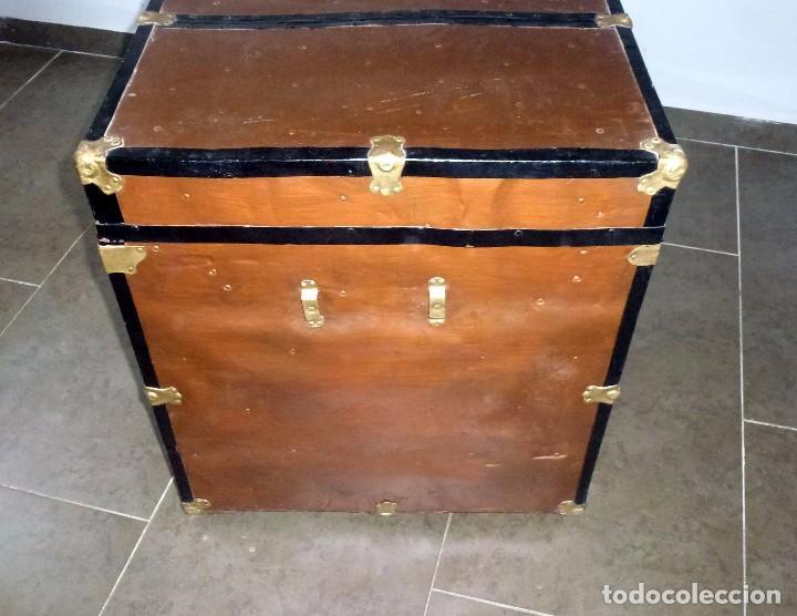Antigüedades: Antiguo Baul De Madera Forrado De Chapa.66 X 101 X 61 Cm. - Foto 11 - 217958255