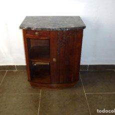 Antigüedades: ANTIGUO MESITA DE ROBLE CON TABLERO DE MARMOL.68 X 54 X 40 CM.. Lote 217958448