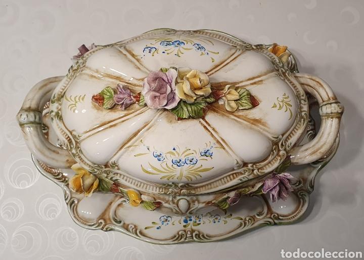 Antigüedades: Sopera porcelana floral Galos 509/4 - Foto 2 - 217963480