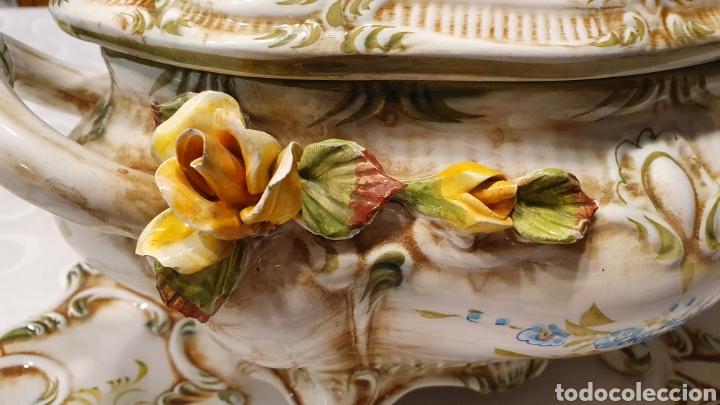 Antigüedades: Sopera porcelana floral Galos 509/4 - Foto 3 - 217963480