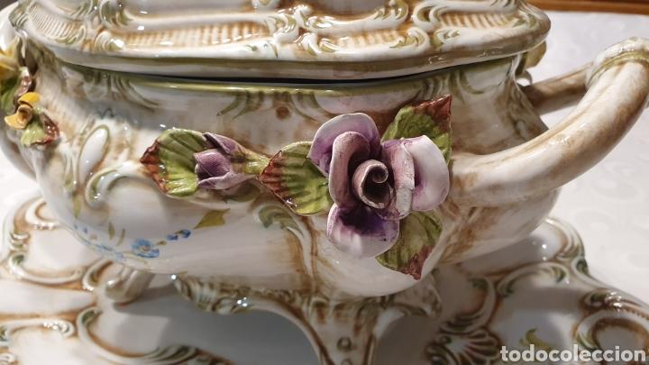 Antigüedades: Sopera porcelana floral Galos 509/4 - Foto 4 - 217963480