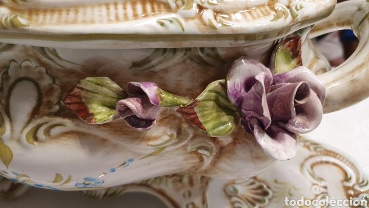 Antigüedades: Sopera porcelana floral Galos 509/4 - Foto 7 - 217963480