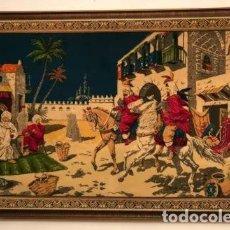 Antigüedades: BONITO TAPIZ ALFOMBRA CON MOTIVOS ÁRABES CABALLOS DESIERTO.. Lote 217986463